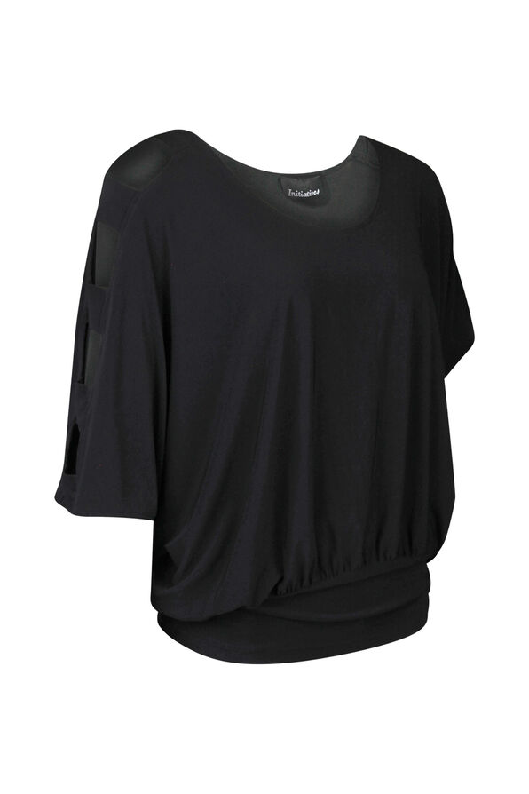 Dolman Sleeve with Banded Waist Top, Black, original image number 0