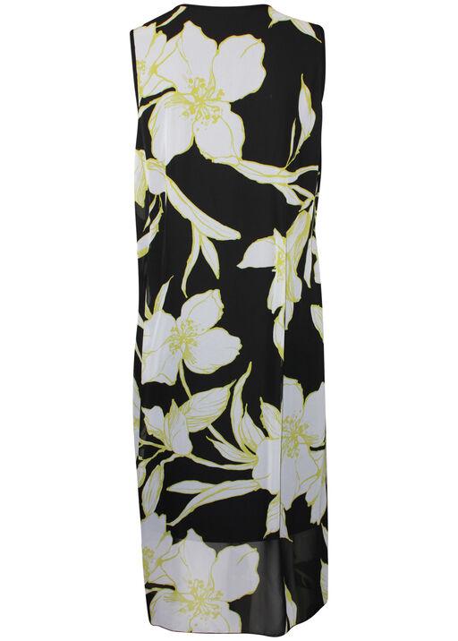 Sleeveless Chiffon Overlay Midi Dress , Lime, original