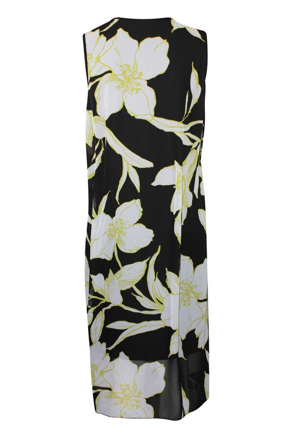 Sleeveless Chiffon Overlay Midi Dress , Lime, original image number 1
