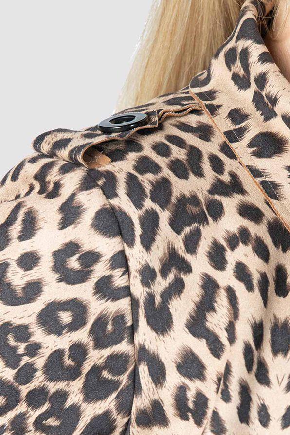 Animal Suede Coat , Brown, original image number 4