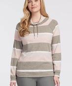 Striped Raglan Sweatshirt Tee, Beige, original image number 0