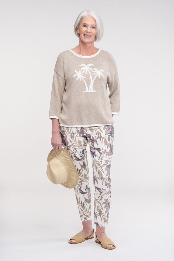 Palm Tree Knit Sweater with Roll Neck, Taupe, original image number 1