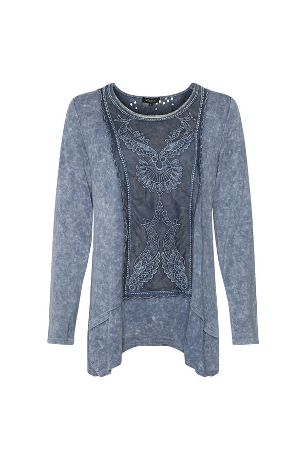 Acid Wash Tunic with Lace, , original image number 0