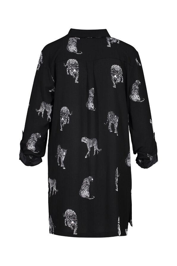 Leopard Print Crepe Blouse, Black, original image number 1