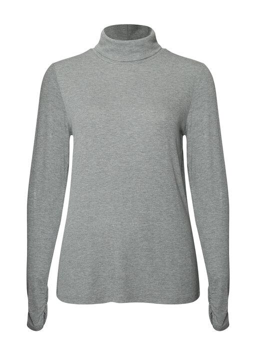 Ruched-sleeve Ribbed Turtleneck, , original