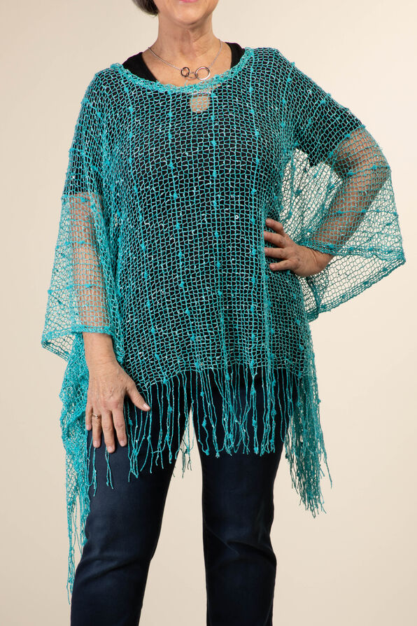 Mesh Poncho with Fringe, Turquoise, original image number 1