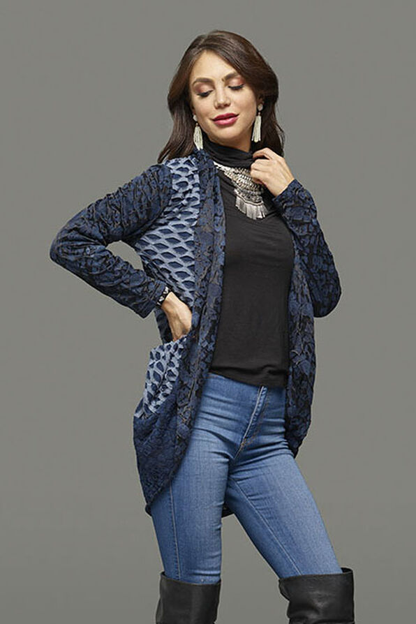 Lace in Layers Cardigan, Navy, original image number 2