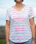 Tie Dye Striped Linen T-Shirt, Pink, original image number 0