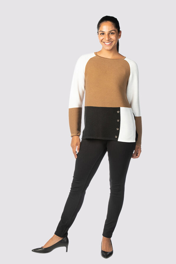 Vosh Colorblock Sweater, Tan, original image number 0
