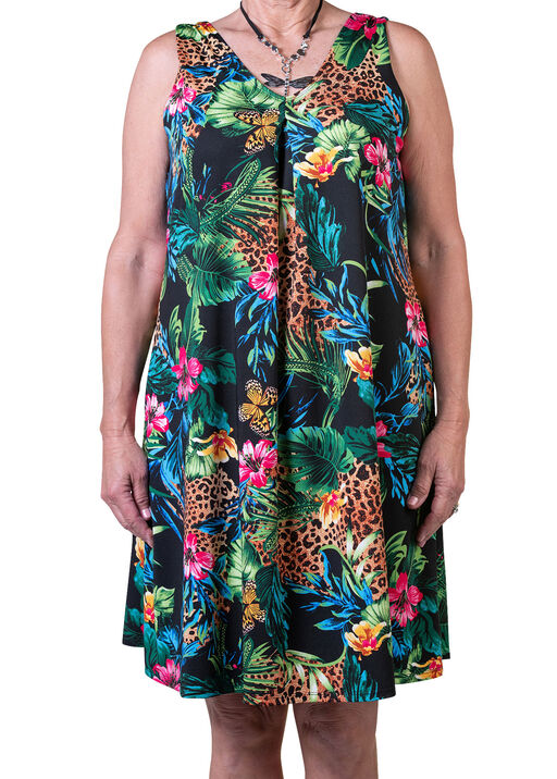 Sleeveless Animal Print A-Line Dress, Multi, original