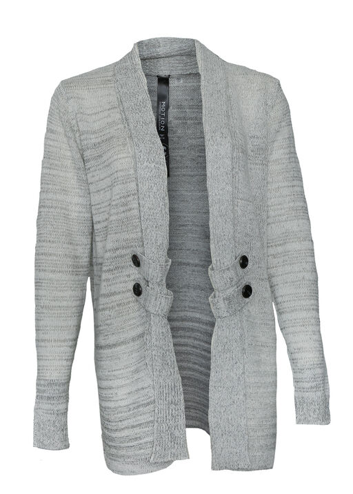 Open Front Long Cardigan with Button Accents, Oatmeal, original
