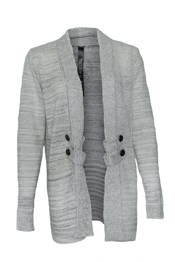 Open Front Long Cardigan with Button Accents, Oatmeal, original image number 0