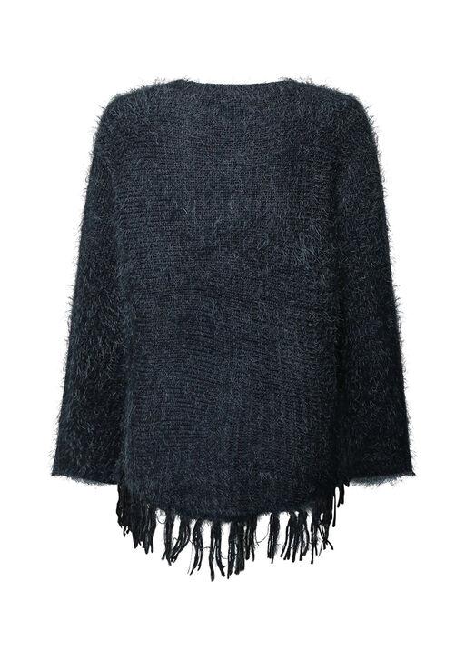 Eyelash Sweater with Fringe Hem, Navy, original