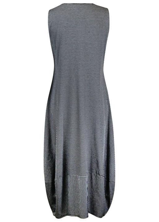 Striped Bubble Hem Midi Dress with Pockets, Black, original