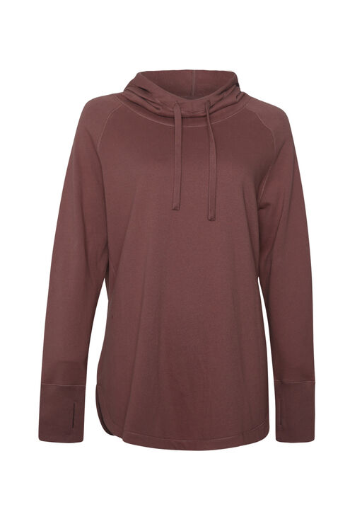 Scuba Neckline Hoodie with Rounded Hem, , original