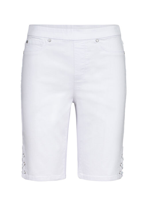 Audrey Pull-On Denim Short with Laced Detail, , original