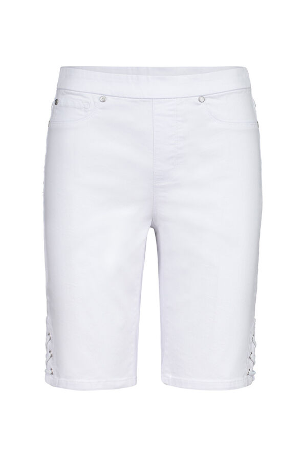 Audrey Pull-On Denim Short with Laced Detail, , original image number 0