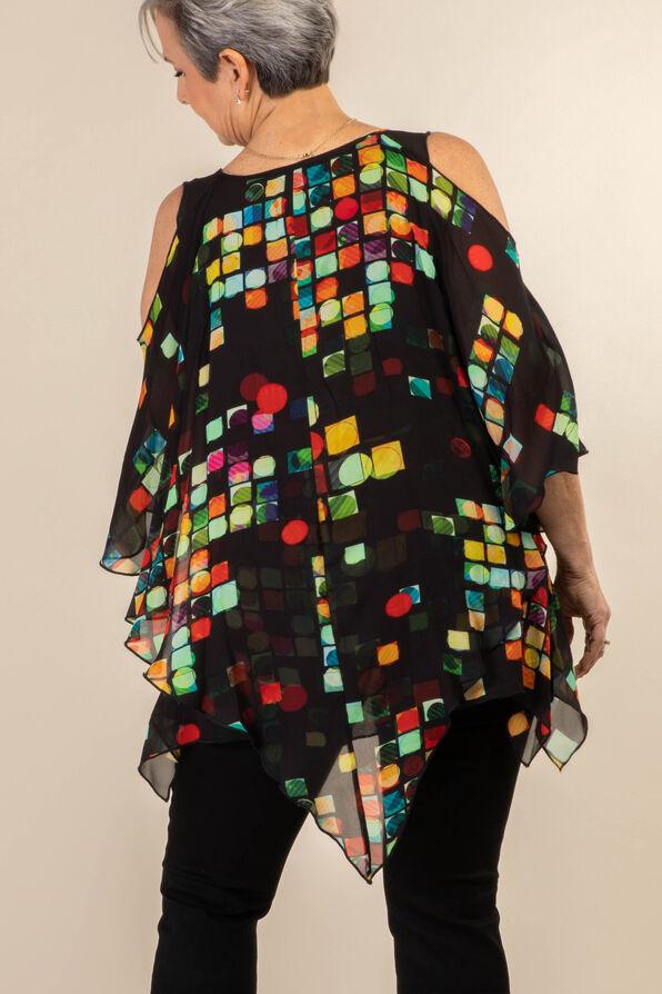 Mosaic Cold Shoulder Blouse, Black, original image number 1