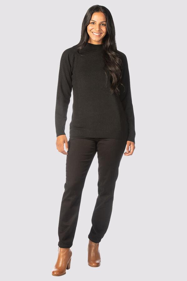 Refined Mock Sweater, Black, original image number 1