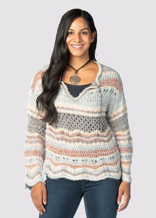 Boho-Chic Bell Sweater, Blue, original