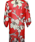 Long Floral Print Button Front Chiffon Blouse, Red, original image number 1