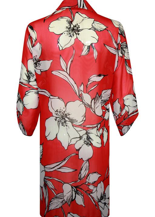 Long Floral Print Button Front Chiffon Blouse, Red, original