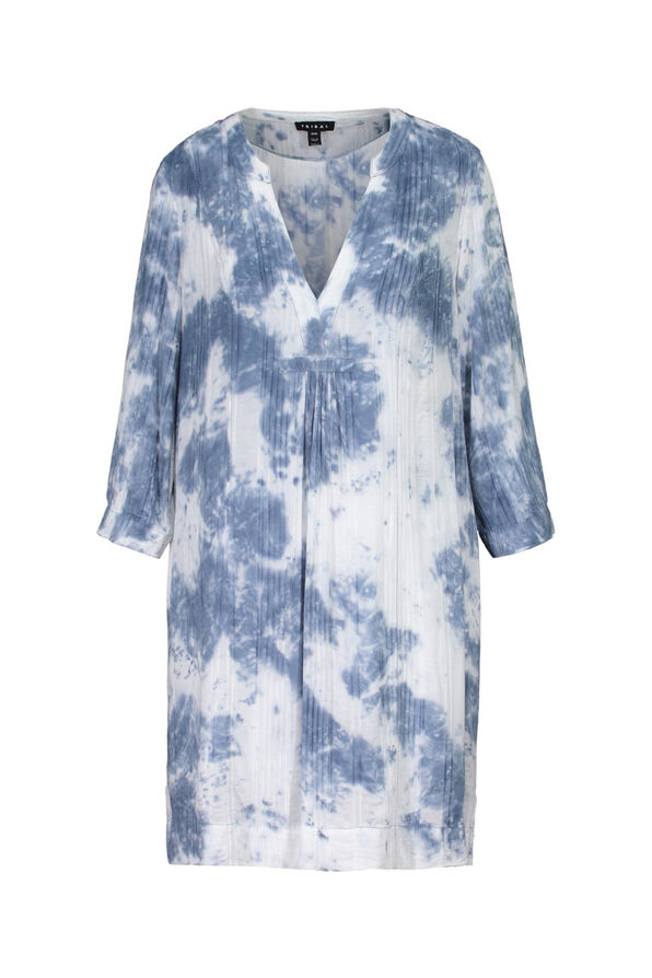 Tie Dye Long Tunic with 3/4 Sleeves, Indigo, original image number 0