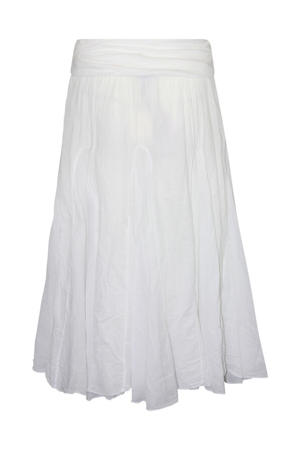 Cotton A-Line Skirt with Fold Over Waist, White, original image number 1
