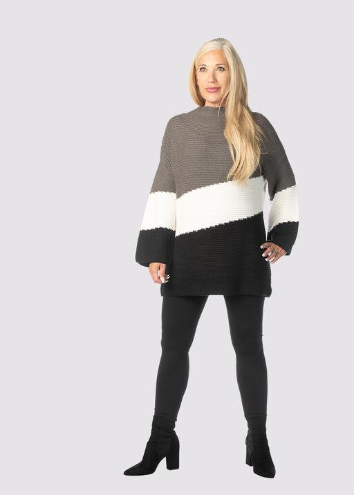 Posh Colorblock Sweater, Grey, original
