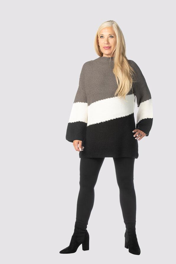Posh Colorblock Sweater, Grey, original image number 1