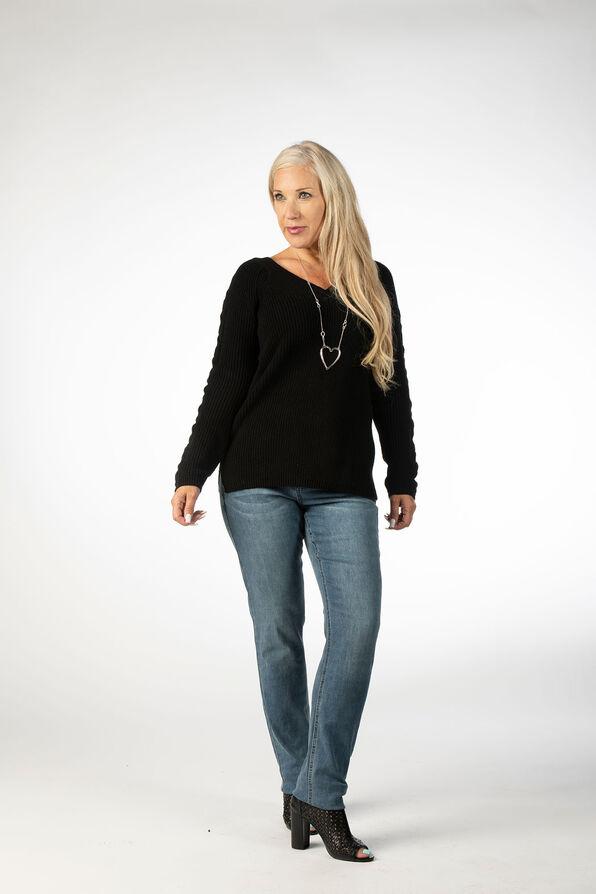 Wear It 2 Ways CableKnit Sweater, Black, original image number 0