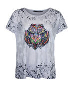 Owl Graphic T-Shirt with Hotfix Gems, White, original image number 0
