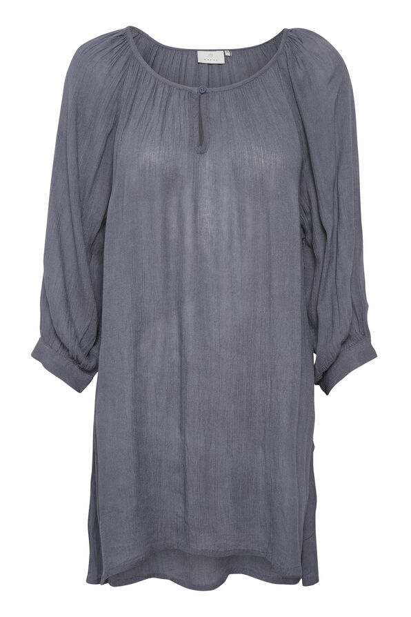 Kaffe Crinkle Tunic with Keyhole and 3/4 Sleeves, Grey, original image number 3