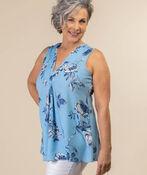 Floral Imprint Blouse, Blue, original image number 1