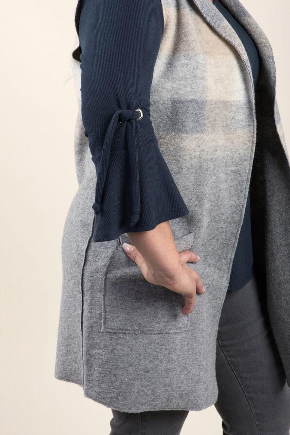 Longer Woolen Vest with Patch Pockets, Grey, original image number 2