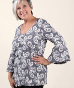 Ruffle Sleeve Top with Puff Print, Black, original image number 0