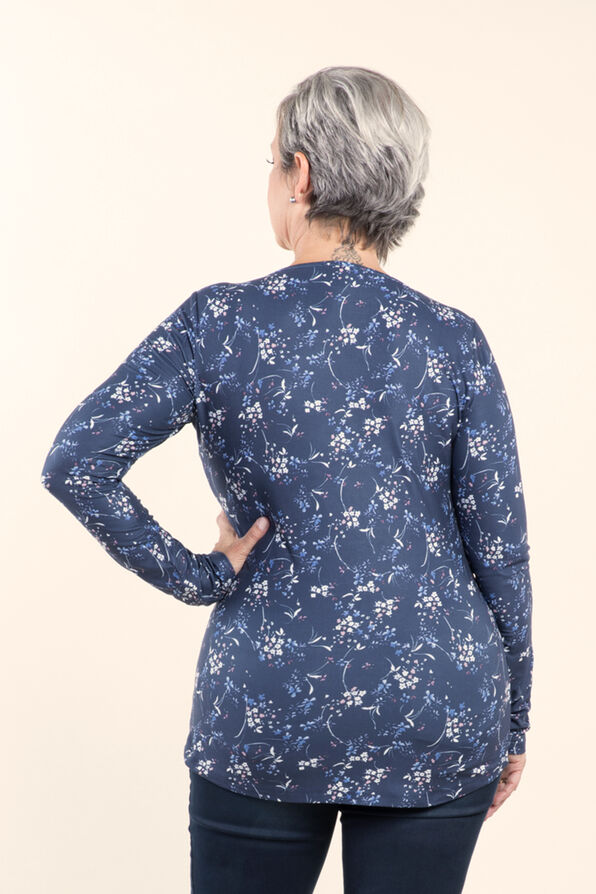 Top with Long Sleeves and Scoop neck, Indigo, original image number 1