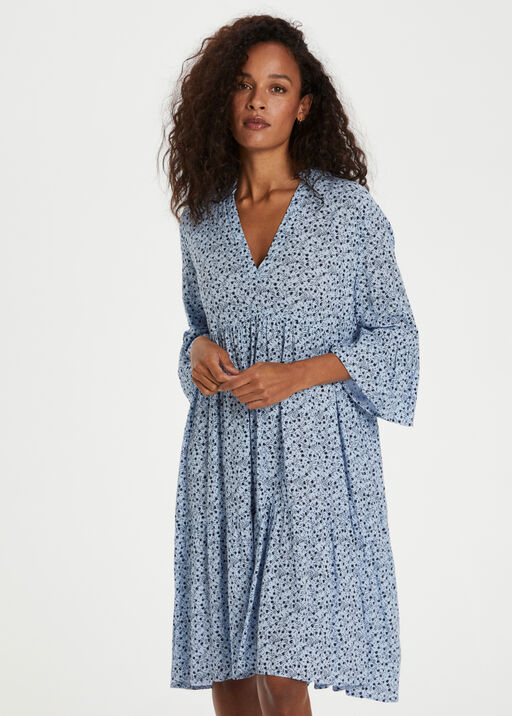 Kaffe Berna Amber Dress with 3/4 Sleeve, Blue, original