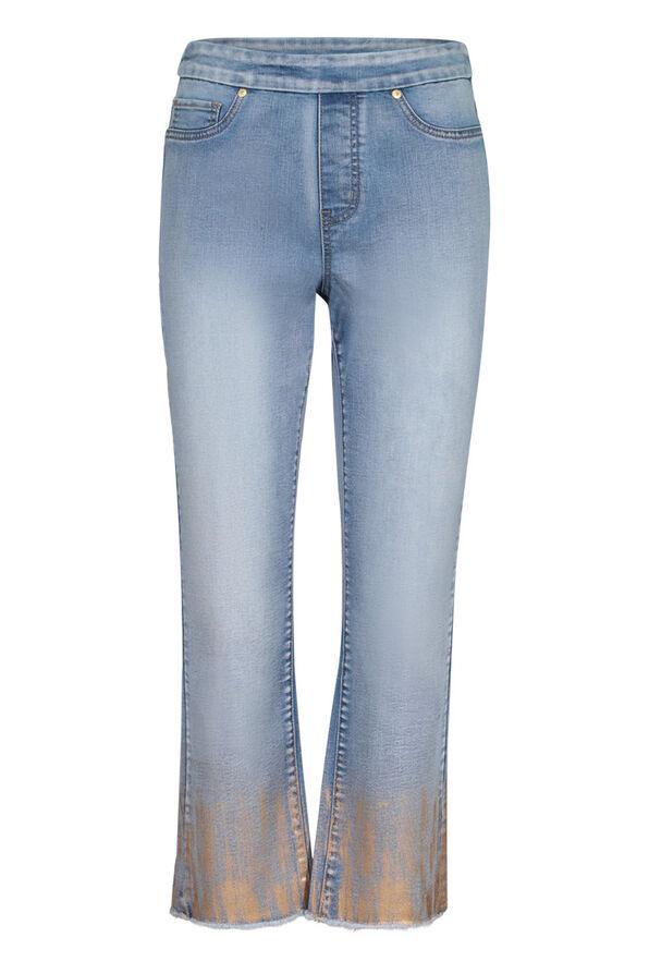 Audrey Straight Leg Crop Jean Gold Fray Hem , Denim, original image number 0