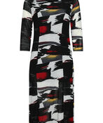 Geo Layered 3/4 Sleeve Dress, , original image number 1