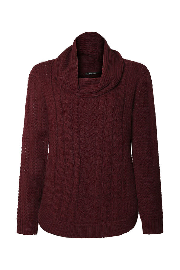 Gia Cable Knit Sweater with Cowl Neck, , original image number 0