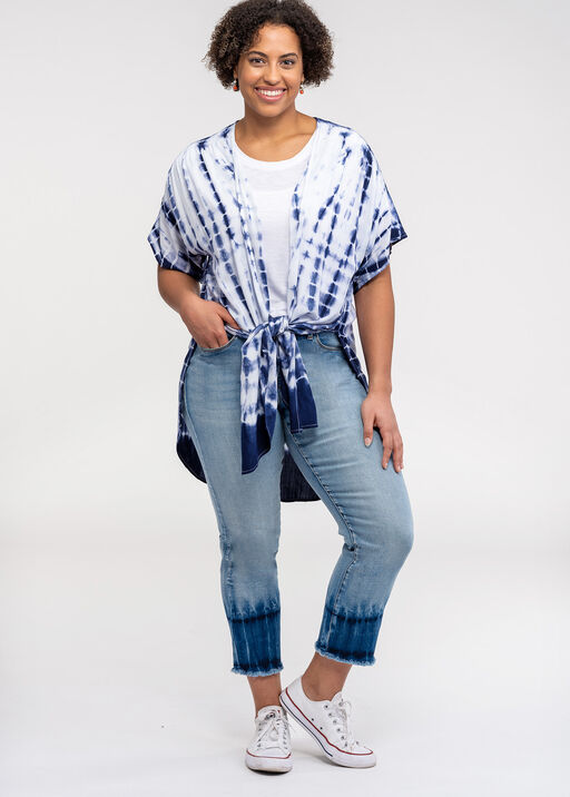 Tie Dye Crop Audrey Jean with Frayed Hem, Blue, original