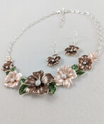 Hibiscus Garden Necklace and Earring Set, Taupe, original image number 0