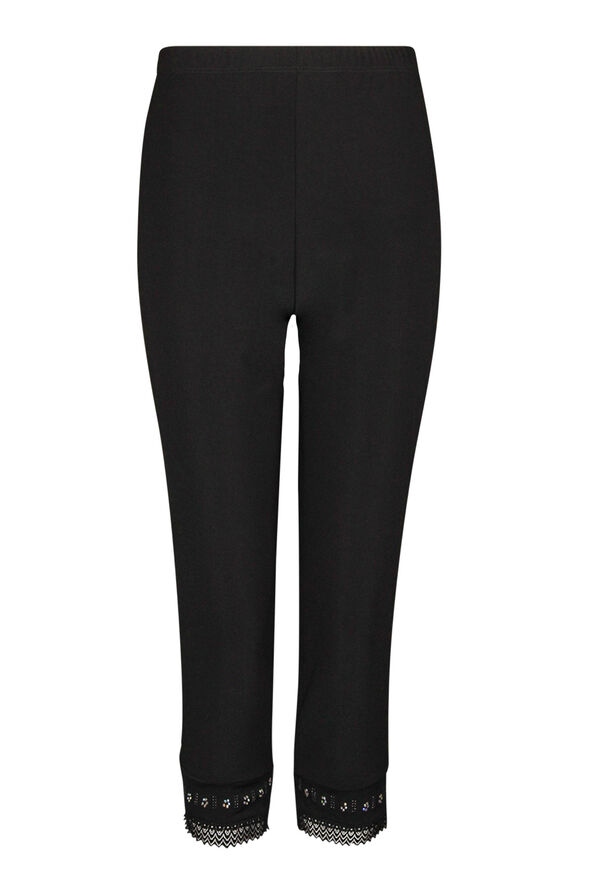 Capri Legging with Lace and Bling Hem, Black, original image number 0