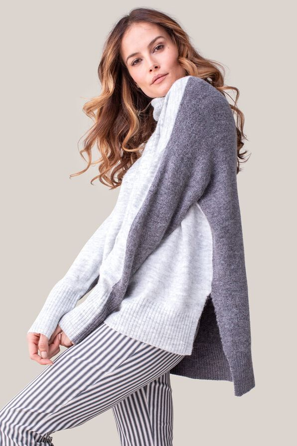 Amirah Relaxed Fit Turtle Neck Sweater, Grey, original image number 2
