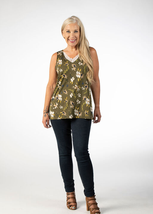 SLEEVELESS TOP WITH LACE DETAIL, Green, original