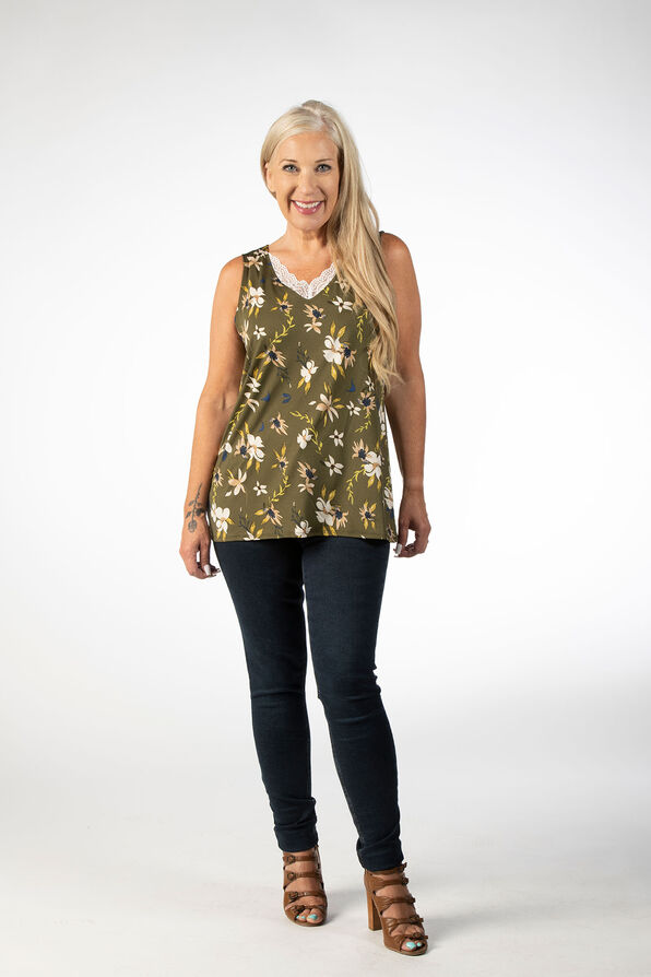 SLEEVELESS TOP WITH LACE DETAIL, Green, original image number 0