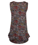 Sleeveless Floral Top with Ruffle Hem, Black, original image number 1