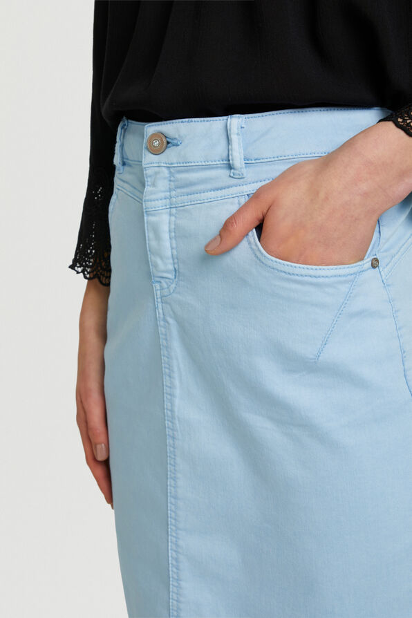 Cream Amalie Denim Midi Skirt, Blue, original image number 2