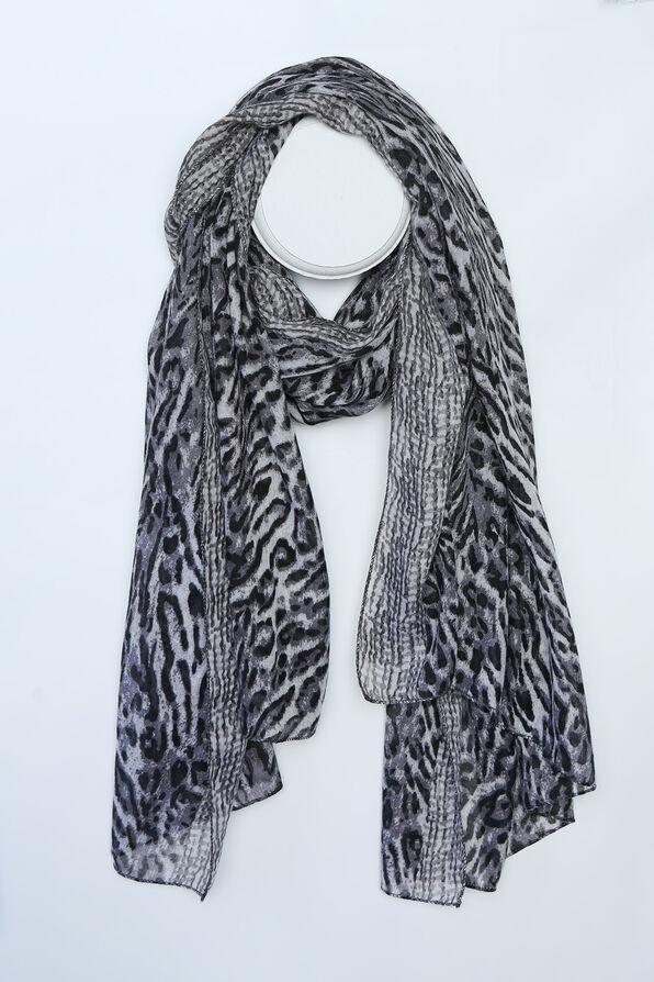 Snow Leopard Fashion Scarf , Black, original image number 0